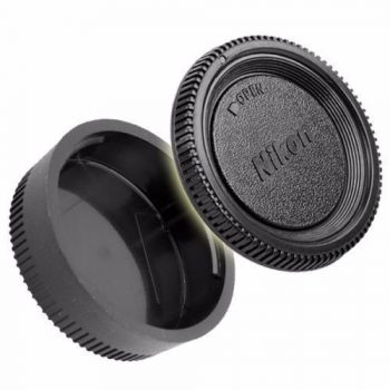 Tapa trasera de lente y tapa de cuerpo Nikon