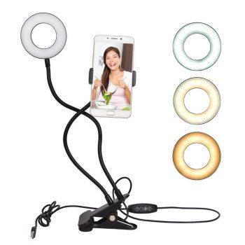 Soporte para celular con anillo LED USB