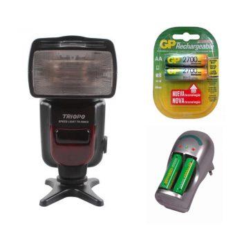Flash Triopo 586 i-TTL para Nikon con Pilas recargables GP AA y cargador